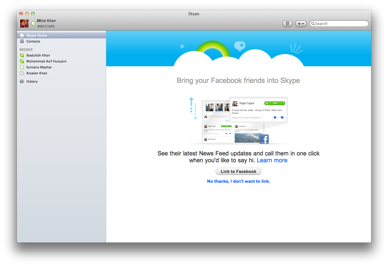 Skype 5.4 beta integra Facebook para Mac