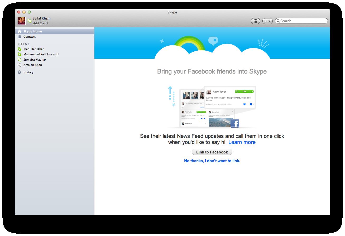 Skype 5.4 beta integra Facebook para Mac