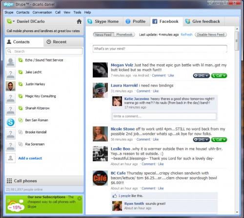 Nueva versión de Skype para integrar Facebook