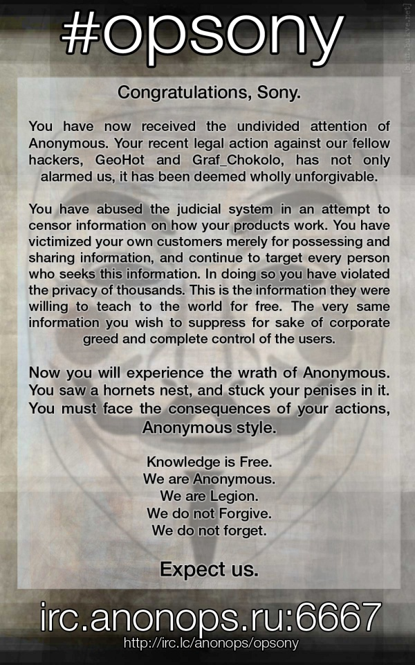 anonymous, ley sopa, megaupload, sony