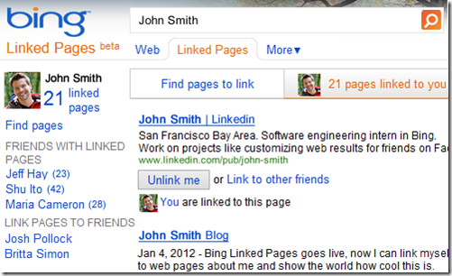Bing lanza Linked Pages y afianza su vínculo con Facebook