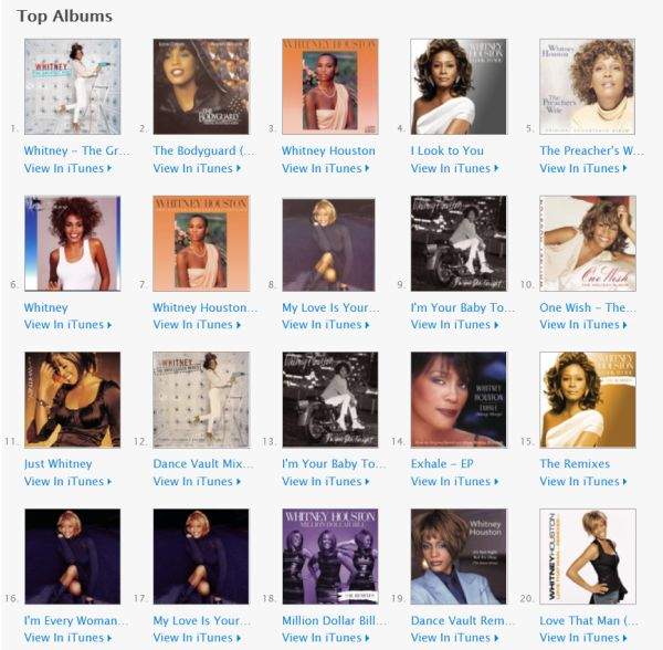 sony, itunes, whitney houston