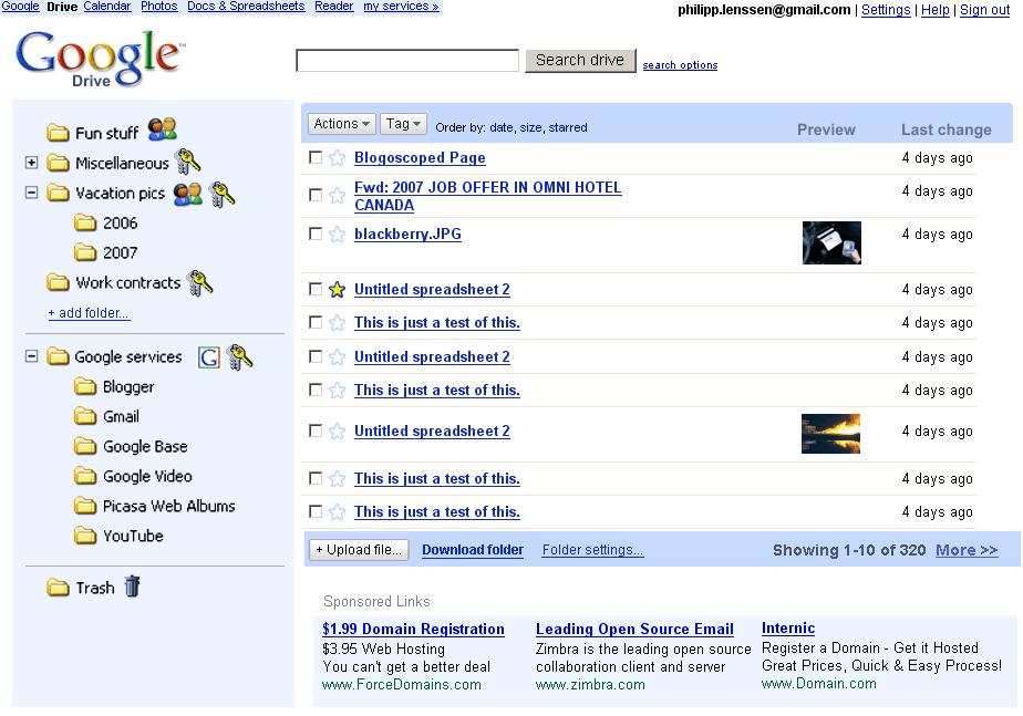 Google Drive: primeras imágenes del servicio de almacenamiento en la nube