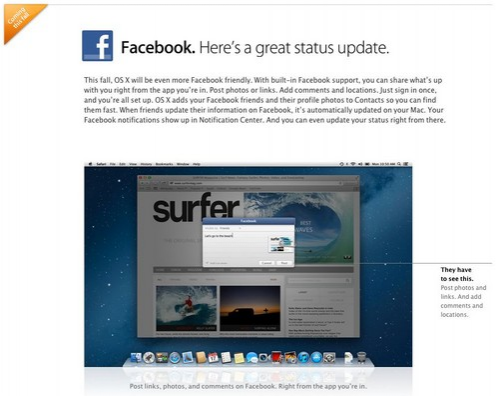 Facebook se integrará en OS X Mountain Lion en otoño