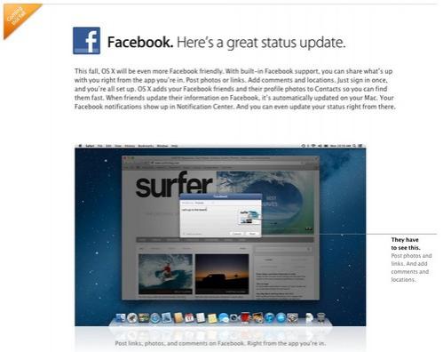 Facebook se integrará en OS X Mountain Lion en otoño