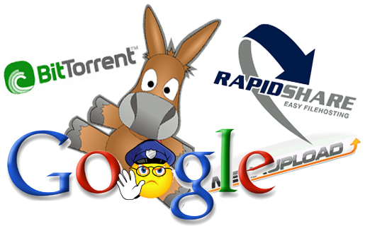 Google deberá censurar los términos torrent, RapidShare y Megaupload
