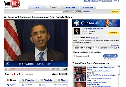 YouTube reestablece un video de Barack Obama