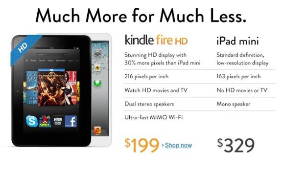 Amazon lanza una publicidad en contra del iPad Mini