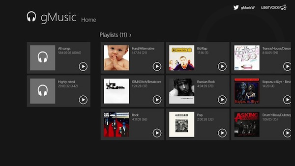 gMusic, Google Play Music en tu Windows 8