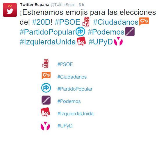 Twitter España anuncia emojis de partido políticos para las elecciones
