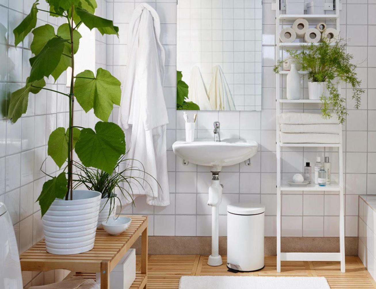 muebles de baño con plantas