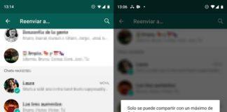 WhatsApp límite reenvío mensajes