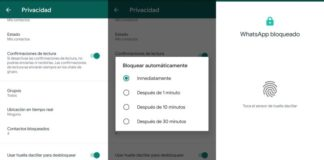 WhatsApp capturas de pantalla huella digital
