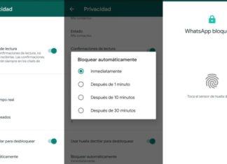 WhatsApp capturas de pantalla huella digital