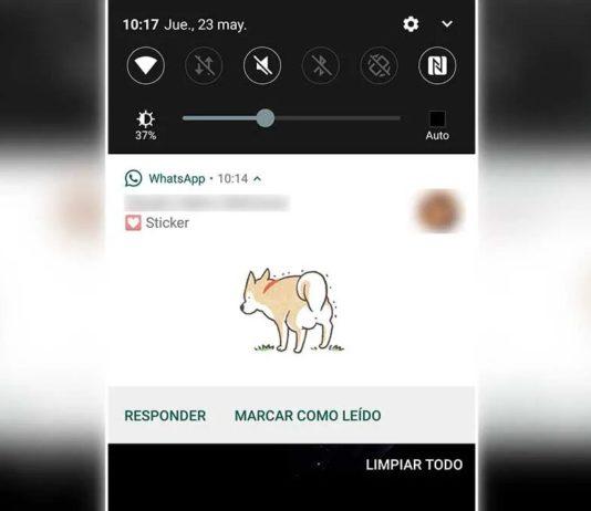 WhatsApp stickers notificaciones
