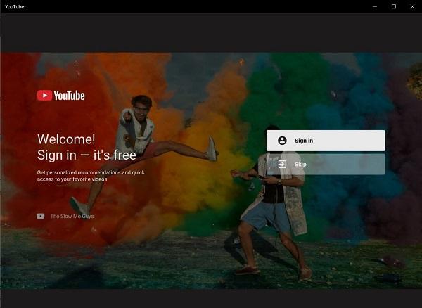 YouTube Windows 10