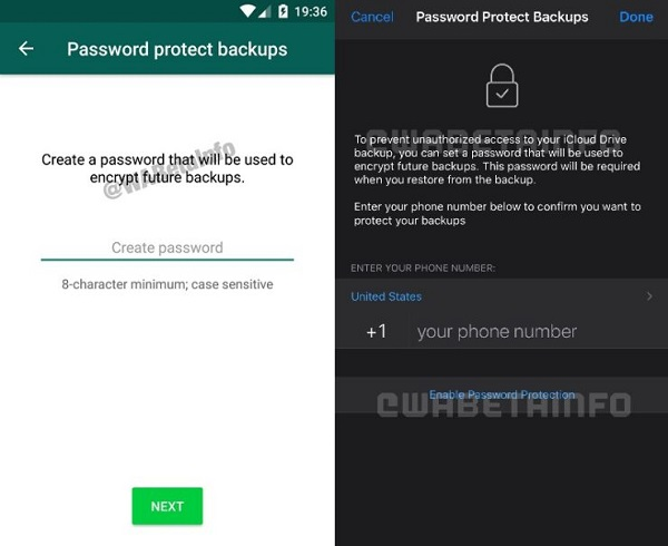 WhatsApp copias de seguridad contraseña