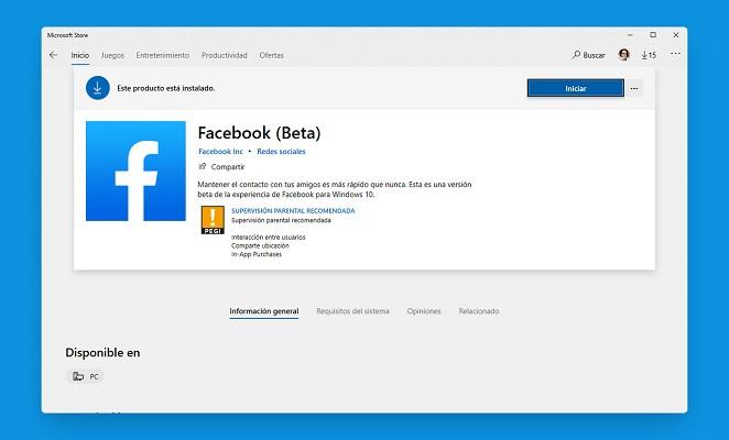 aplicación Facebook Windows 10